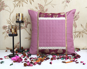 ANS peach cushion cover with brocade borders and quilted plaids