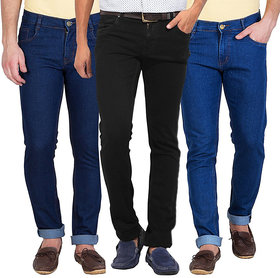 Stylox Men'S Black  Blue Slim Fit Jeans