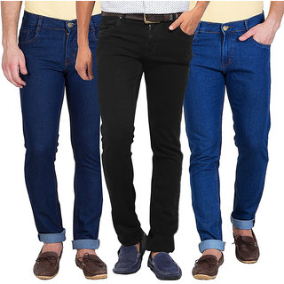 Stylox Men's Black  Blue Slim Fit Jeans (Pack of 3)