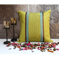 ANS Light Olive Cushion Cover With Turquoise Dots Brocade