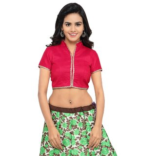 Aagaman Fashions Lovely Pink Colored Art Silk Casual Wear Semistitched Blouse