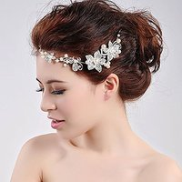 Acxico Metal Shiny Bling Crystal Flower with Pearl Bridal Wedding Hair Decoration