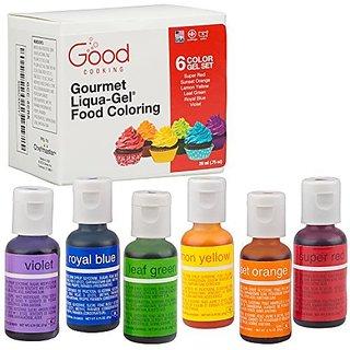 Food Coloring Liqua-Gel - 6 Color Rainbow Kit in .75 fl. oz. (20ml ...