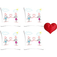 MeSleep Cartoon Couple Valentine Digital Printed Cushion Cover (16x16)-Set Of 4 With Free Heart Shaped Filled Cushion