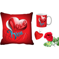 MeSleep Love You Valentine Digital Printed Cushion Cover (16x16)  Mug With Free Artificial Rose And Key Chain