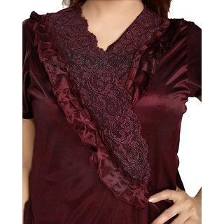 Be You Fashion Women Satin Maroon Lace 2 Piece Nighty Set