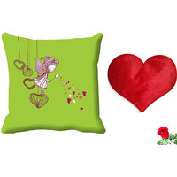 MeSleep Green Cartoon Valentine Digital Printed Cushion Cover (16x16) - With Free Heart Shaped Filled Cushion And Artificial Rose