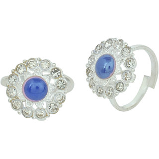 Memoir  Silver Brass & Copper Silver Plated Toe-Rings For Women