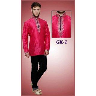 Silk Thread Work Indian Kurti For Men