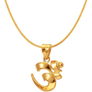 Mahi Exa Collection Om Gold Plated Religious God Pendant with Chain for Men  Women PS6012011GC