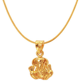 Mahi Exa Collection Ganesh Gold Plated Religious God Pendant with Chain for Men  Women PS6012012GC