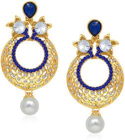 Kriaa by JewelMaze Blue Austrian Stone Pearl Drop Gold Plated Chandbali - AAA0221