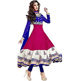 Women's Pink  Blue Multicolour Georgette Anarkali Suit Dress Material