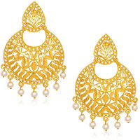 Kriaa by JewelMaze Pearl Drop Gold Plated Chandbali Earrings-AAA0299