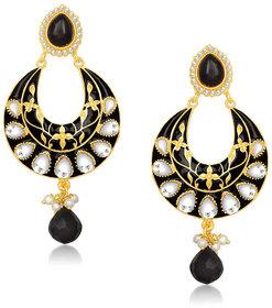 Kriaa by JewelMaze Kundan Black Meenakari Pearl Drop Gold Plated Chandbali Earrings - AAA0282