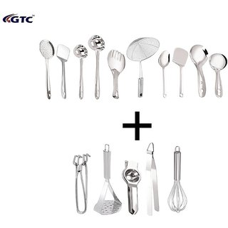 GTC Stainless Steel Cooking and Serving Spoon Set of 15