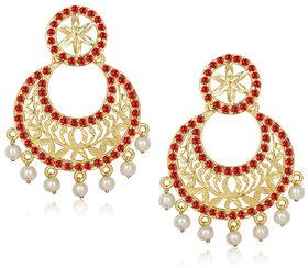 Kriaa by JewelMaze Red Austrian Stone Pearl Drop Gold Plated Chandbali Earrings - AAA0306