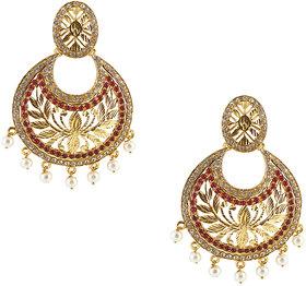 Kriaa by JewelMaze by JewelMazeZinc Alloy Gold Plated Red Austrian Stone Chandbali Earrings - AAA0767