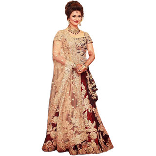 Ethnicbasket Maroon Satin Embroidered Semi Stitched Lehenga