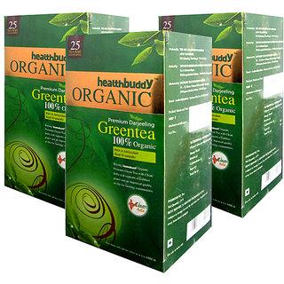 Healthbuddy 100 Organic Green Tea 3 Packs Of 25 Tea Bags Each