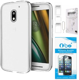TBZ Transparent Silicon Soft TPU Slim Back Case Cover for Moto E3 Power with Nossy Sim Adaptor and Tempered Screen Guard