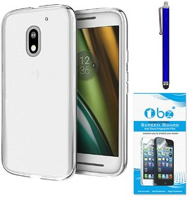TBZ Transparent Silicon Soft TPU Slim Back Case Cover for Moto E3 Power with Stylus Pen and Tempered Screen Guard