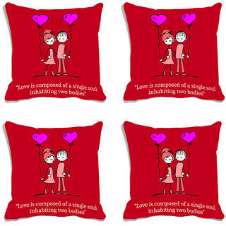 meSleep Red Quotes Valentine Digital Printed Cushion Cover (16x16)-Set of 4