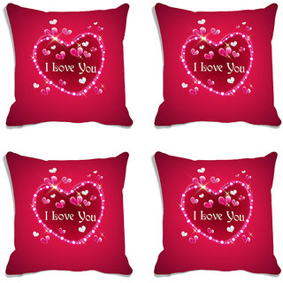 meSleep Pink Love You Valentine Digital Printed Cushion Cover (16x16)-Set of 4