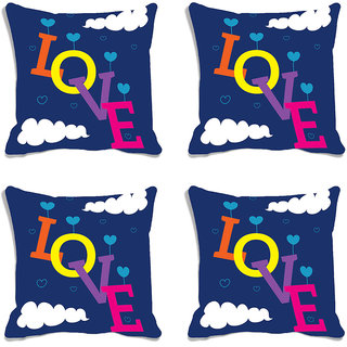 meSleep Blue Love Valentine Digital Printed Cushion Cover (16x16)-Set of 4