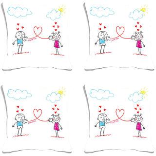 meSleep Cartoon Couple Valentine Digital Printed Cushion Cover (16x16)-Set of 4