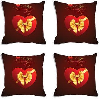 meSleep Red Happy Valentine Digital Printed Cushion Cover (16x16)-Set of 4