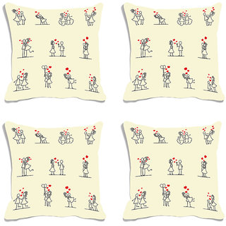 meSleep Cartoon Valentine White Digital Printed Cushion Cover (16x16)-Set of 4
