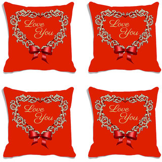meSleep Love You Red Valentine Digital Printed Cushion Cover (16x16)-Set of 4