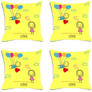 meSleep Love Valentine Yellow Digital Printed Cushion Cover (16x16)-Set of 4