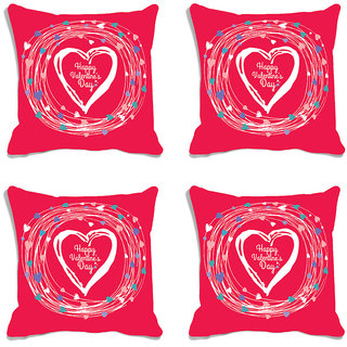 meSleep Happy Valentine Pink Digital Printed Cushion Cover (16x16)-Set of 4