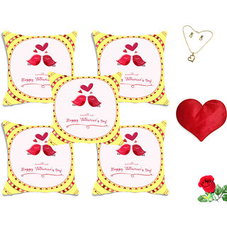 meSleep Love Bird White Valentine Digital Printed Cushion Cover (16x16) - Set of 5 With Free Heart Shaped Filled Cushion and Artificial Rose and Pendant Set