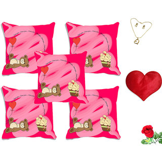 meSleep Love you Teddy Valentine Digital Printed Cushion Cover (16x16) - Set of 5 With Free Heart Shaped Filled Cushion and Artificial Rose and Pendant Set