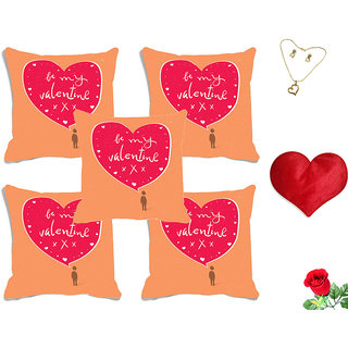 meSleep Be My Valentine Pink Digital Printed Cushion Cover (16x16) - Set of 5 With Free Heart Shaped Filled Cushion and Artificial Rose and Pendant Set