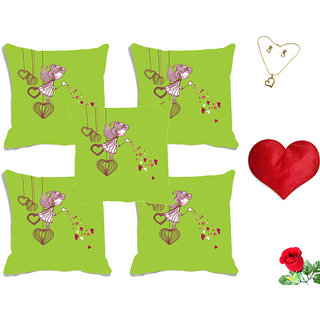 meSleep Green Cartoon Valentine Digital Printed Cushion Cover (16x16) - Set of 5 With Free Heart Shaped Filled Cushion and Artificial Rose and Pendant Set