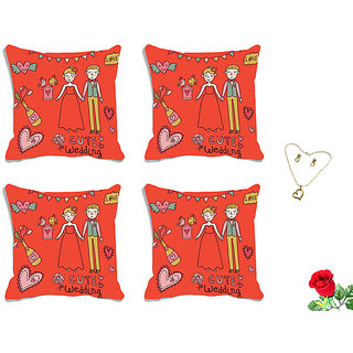 meSleep happy wedding Valentine Digital Printed Cushion Cover (16x16)-Set of 4 With Free Artificial Rose and Pendant Set