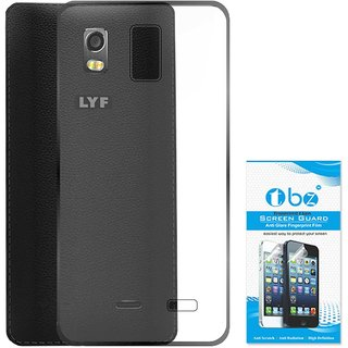 TBZ Transparent Silicon Soft TPU Slim Back Case Cover for Lyf Water 10 with Tempered Screen Guard
