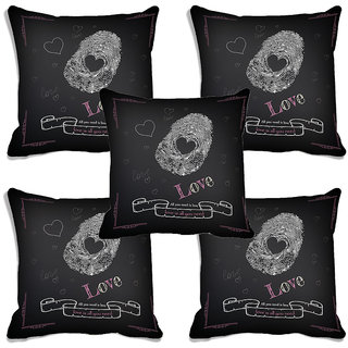 meSleep Love Valentine Black Digital Printed Cushion Cover (16x16)-Set of 5