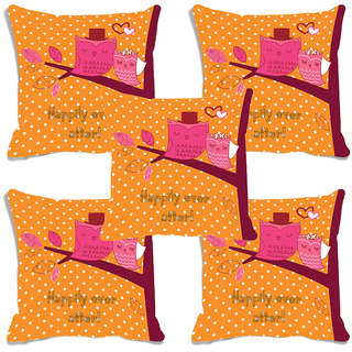 meSleep Happy Ever After Valentine Digital Printed Cushion Cover (16x16)-Set of 5