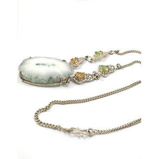 Raw Mineral Marble Druzy Pendant And White Gold Chain Long Necklace For Women