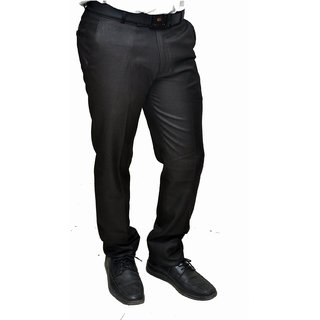 NoVowels Formal TR Fabric Trousers in Black For 32 Size