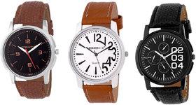 DCH Round Dial Multi Leather  Synthetic Strap Men Quartz Watch for Men