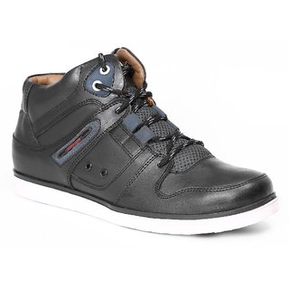 Red Chief Black Men High Ankle Outdoor Casual Leather Shoes (RC1336A 001)