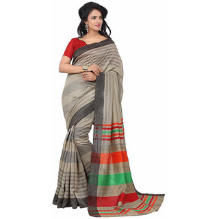 S V Inc Multicolor Art Silk Printed Saree With Blouse