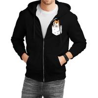 Fanideaz Cotton  FireFox Pocket Fox  Zipper Hoodies For Men Zipper SweatshirtBlackL