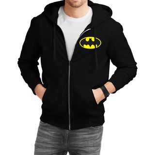 Fanideaz Cotton  Traditional Batman Zipper Hoodies For Men Zipper SweatshirtBlackL